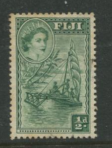 Fiji - Scott 147 - QEII Definitive Issue -1954 - Used- Single 1/2d Stamp