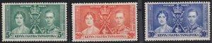 Kenya, Uganda and Tanganyika 60-62 MNH (1937)