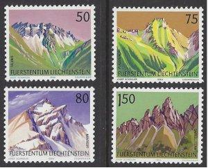Liechtenstein #911-14 MNH set, various mountains, issued 1989