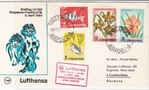 Singapore 1965 Lufthansa Slogan Airmail Flight Fish+Flowers Stamps Cover Rf29440