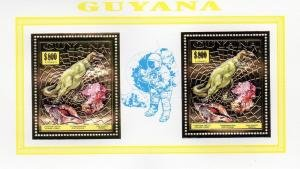 Guyana 1993 DINOSAURS Blue Ovpt. SPACE Collective Perforated Mint (NH)