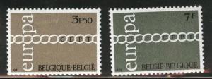 Belgium Scott 803-4 MH* 1971 Europa set Faulty Thinned