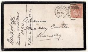 RR29 1880 GB Wales *STRADEY CASTLE* MAIL Cover ex Llanelly {samwells-covers}