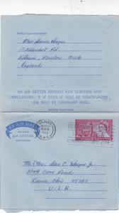 GB 1966 6d Air letter Kilburn-Xienia USA VGC