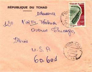 Chad 60F Harp 1969 Fort-Lamy, Tchad to Chicago, Ill.  Corner card Republique ...