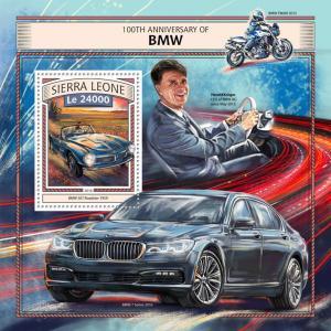 Sierra Leone 2016 MNH BMW 100th Anniv 1v S/S Harald Kruger Cars Motoring Stamps