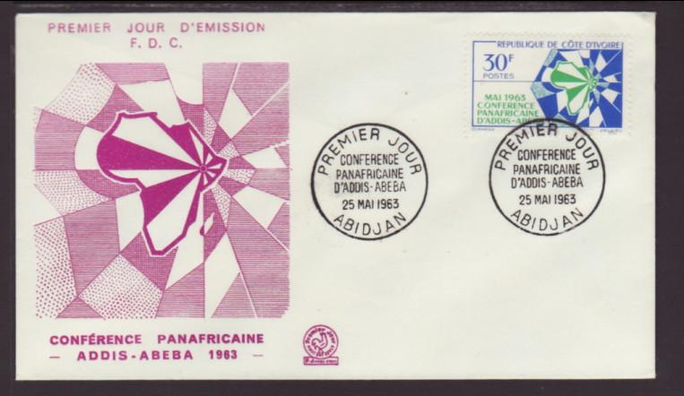 Ivory Coast 200 Map 1963 U/A FDC