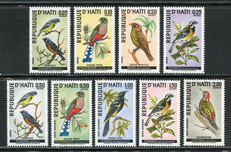 HAITI BIRDS SET OF NINE SCOTT#611/15,C326/29 MINT NH--SCOTT $28.50