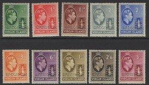 VIRGIN ISLANDS SG110/9s 1938 SPECIMEN SET TO 5/= MTD MINT TONING