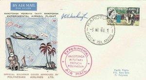 EXPERIMENTAL AIR MAIL , RAROTONGA ,  COOK ISLANDS 1966 , SIGNED COVER