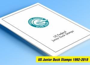 COLOR PRINTED US JUNIOR DUCK STAMPS 1992-2018 STAMP ALBUM PAGES (20 ill. pages)