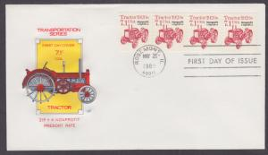 US Sc 2127b, PNC 1  FDC. 1989 7.1c Tractor, Coil Strip of 4, HF Cachet