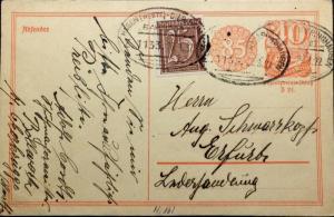 ALLEMAGNE / DEUTSCHLAND 29.8.1922 Mi.161 /Mi.P153.I Zug1133 HAGEN-DIERINGHAUSEN