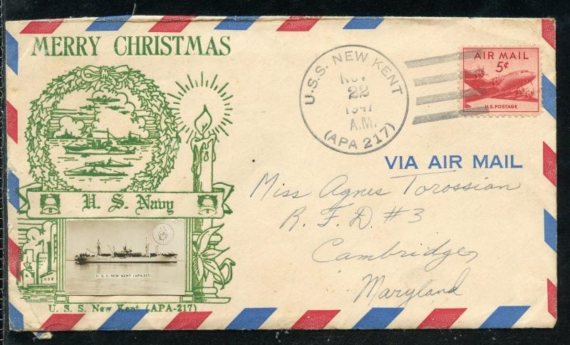 UNITED   STATES  MERRY CHRISTMAS 1947 USS NEW KENT SPECIAL COVER AS SHOWN