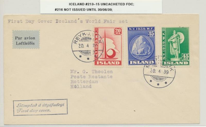 ICELAND 1939 NY WORLDS FAIR SET ON FIRST DAY COVER SC#213-15  (SEE BELOW)