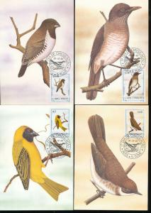S.Tome E Principe St Thomas 1983 Birds Wildlife Maxi Cards Used (22 Items) D754a