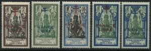 French India 1939 5 overprinted FRANCE LIBRE values to 20 ca mint o.g.