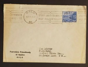 1949 Oslo Norway to St Louis Missouri USA Advertising Cover