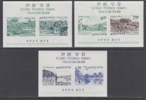 Korea Sc 439a, 440a, 443a MNH. 1964 Views, imperf souv sheets of 2, 3 diff, VF