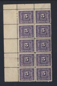 10x Canada P.D. Stamps #J9-5c with margin M GD F/VF Guide Value = $200.00