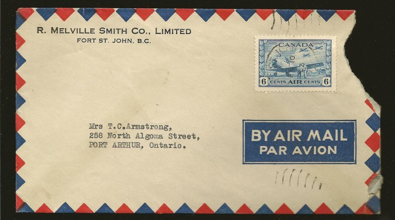 Canada C7 on 1943 Fort St John BC Airmail Ad Cover Cover is damaged Stamp OK