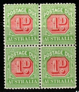 AUSTRALIA SGD78a 1914 1d ROSINE & BRIGHT APPLE-GREEN WMK SIDEWAYS MNH BLOCK OF 4