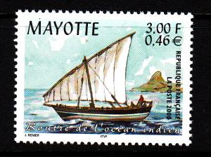 Mayotte MNH Scott #133 3fr Indian Ocean sailboat