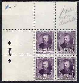 Monaco 1923 Prince Louis 25c purple perf proof corner blo...