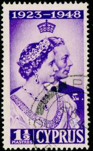 CYPRUS SG166a, 1½pi violet, FINE USED. Cat £65. EXTRA DECORATION.
