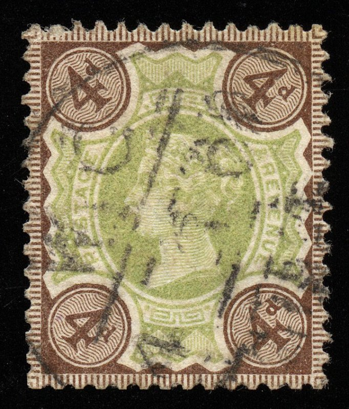 01740 Great Britain Scott 116, 4d pale green and brown, used, CDS Queen Victoria