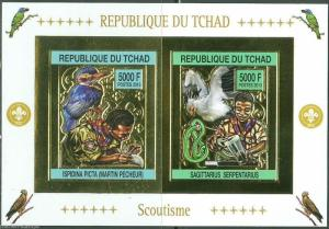 CHAD 2013  BOY SCOUTS & BIRDS SHEET OF TWO GOLD FOIL IMPRF MINT NEVER HINGED