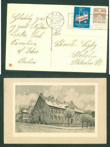 Denmark. Christmas Card 1937 Skive.With Seal + 10 Ore.Old Buildings.Adr. Stoholm