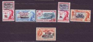 J22703 Jlstamps 1963 sierra leone set mnh #c8-12 ovpt,s