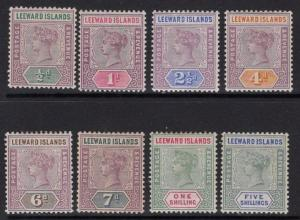 LEEWARD ISLANDS SG1/8 1890 DEFINITIVE SET MTD MINT