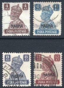 India Nabha 1943 GVI 4a-12a SG 114-117 Scott 109-112 VFU Cat £206($267)