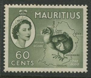 Mauritius - Scott 261 - QEII Definitives -1954 -MVLH -Single 60c Stamp