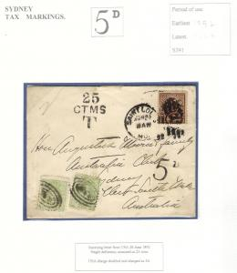 POSTAGE DUE Markings Stamps Covers NSW Australia Unpaid Postmark New South Wales