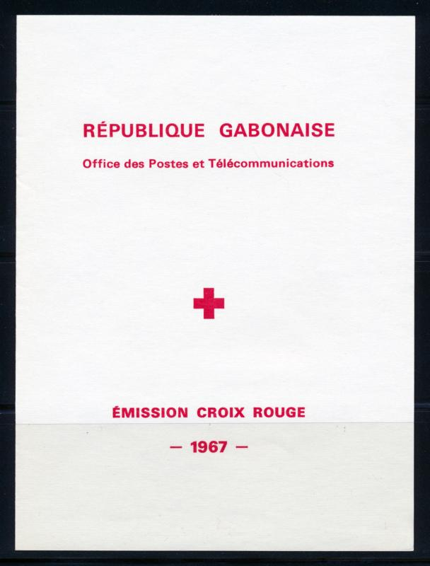 GABON 1967 RED CROSS SOUVENIR BOOKLET WITH 2 SHEETS OF 4 SCOTT C54a + C55a