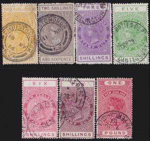 NEW ZEALAND 1880 Stamp Duty 7 values 2/6 to £1 used.........................4731