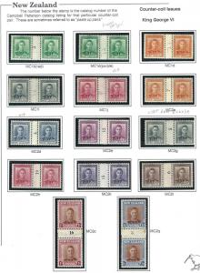 New Zealand KGVI+QEII counter-coil pair collection MNH + mh