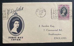 1953 Singapore Malaya Kedah first day cover Queen Elizabeth II Coronation QE2