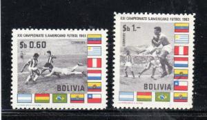 BOLIVIA #469-470    1963  SOCCER & FLAGS     MINT  VF LH  O.G