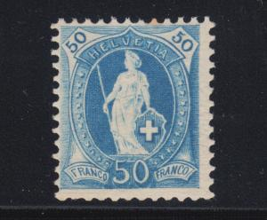 Switzerland Sc 86 MLH. 1882 50c blue Helvetia, perf 11½x11¾.