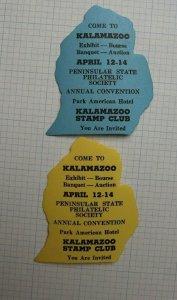 Kalamazoo Michigan Stamp Club Expo Souvenir Label Ad set Die cut MI mit shape