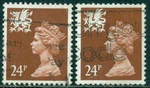 GREAT BRITAIN WALES SG-W59b, SCOTT WMMH-46, USED, 2 STAMPS, GREAT PRICE!