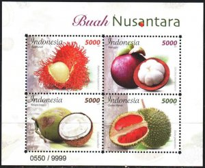 Indonesia. 2017. bl86. Fruit, gastronomy. MNH.