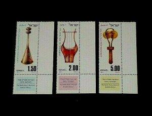1977, ISRAEL, #628-630, MUSICAL INSTRUMENTS, SET/3, SINGLES, MNH, NICE! LQQK!