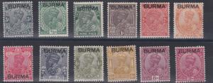 BURMA  1937  S G 1 - 12  PART SET TO 12A CLARET    MH  CAT £54
