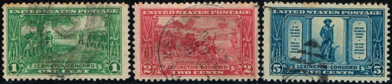 #617-19  1925 1c TO 5c LEXINGTON-CONCORD ISSUES--USED (CAT $19.50.)
