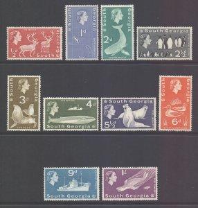 South Georgia Falkland Is Scott 1/10 - SG1/10, 1963 Elizabeth II 1/2p - 1/-MNH**
